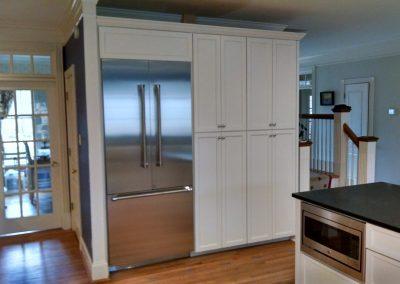 white custom kitchen frig wall 2